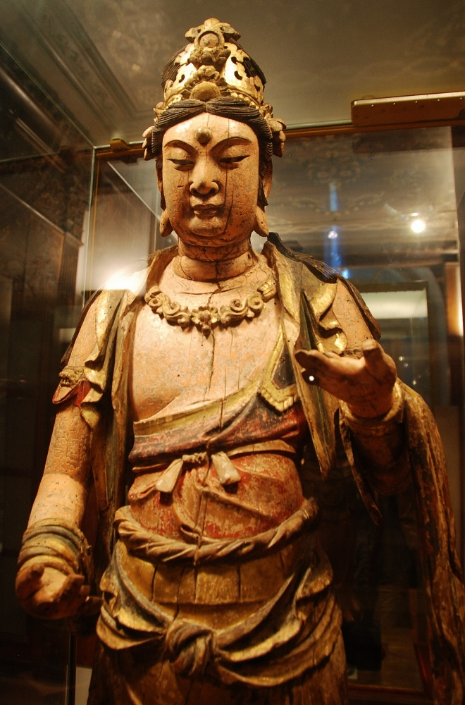 Guanyin, painted wood with traces of gold guilding, c.12th century, China