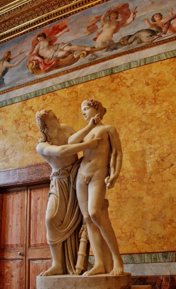Cupid and Psyche.  Boncompagni Ludovisi Collection Inv. 8567  Medium-grained crystalline marble for the ancient parts, Carrara marble for the restorations.
