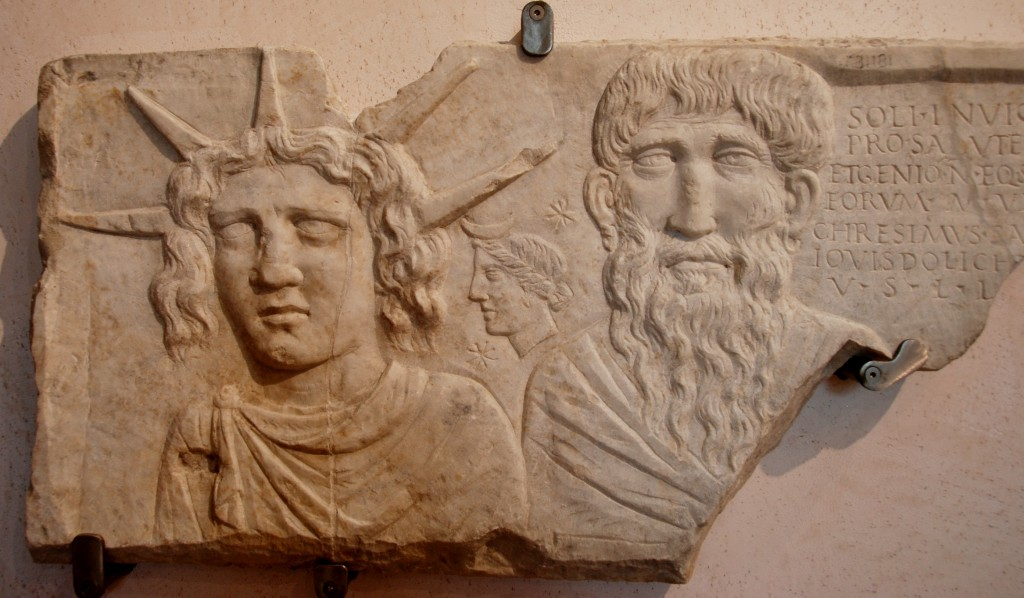 IInd. c. CE.  Cult of Sol Invictus  frieze. Dedicated by a priest of Jupiter Dolichenus