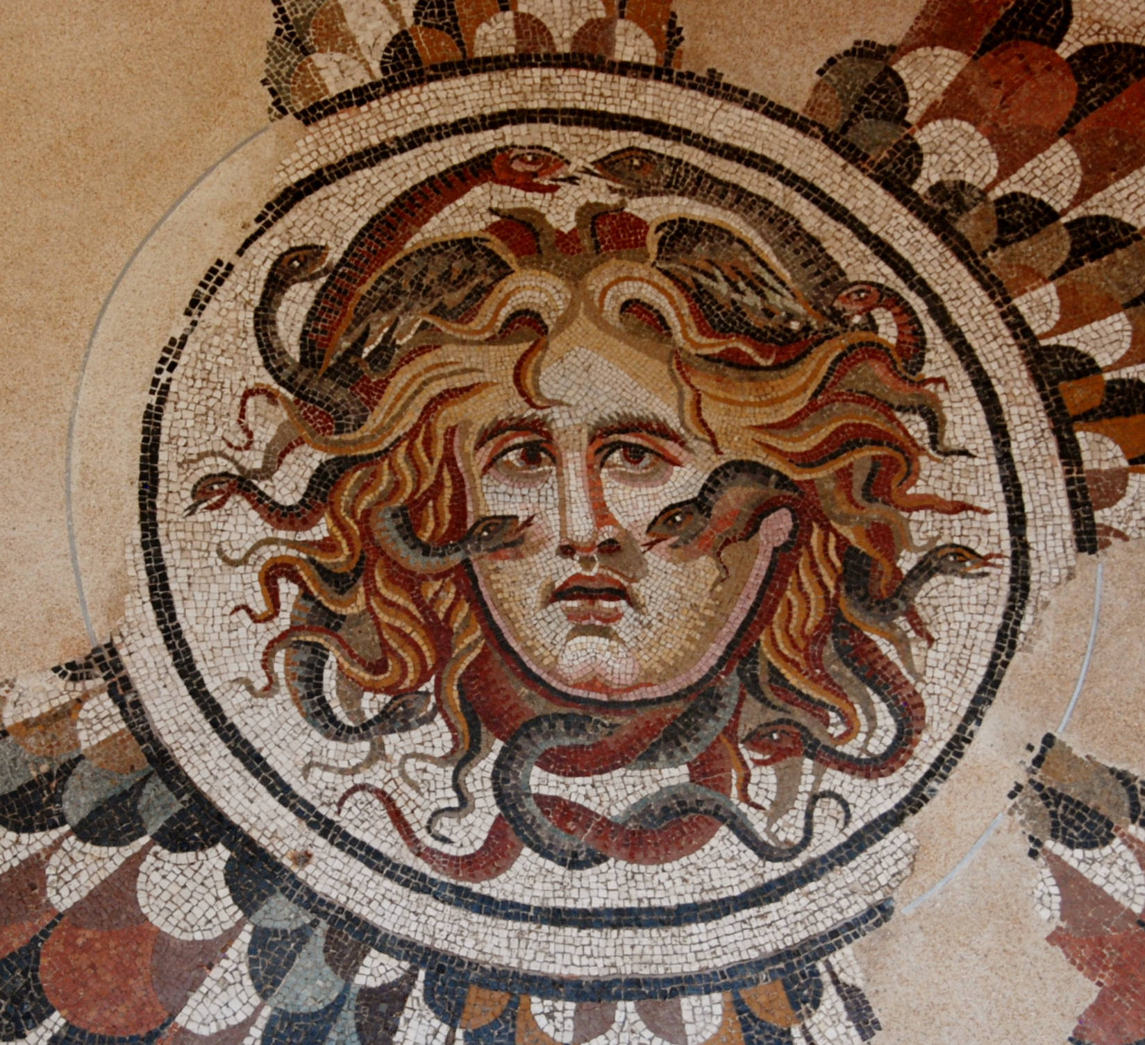 a large, spectacular floor mosaic of Medusa