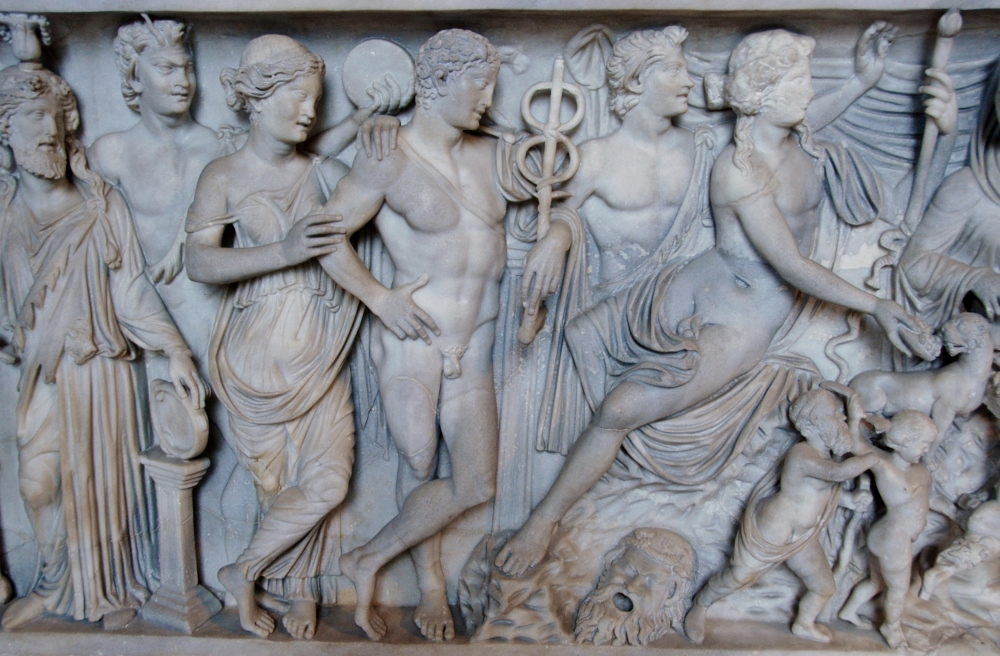 detail of a sarcophagus front showing Ariadne and Dionisyus.  IId. c. CE
