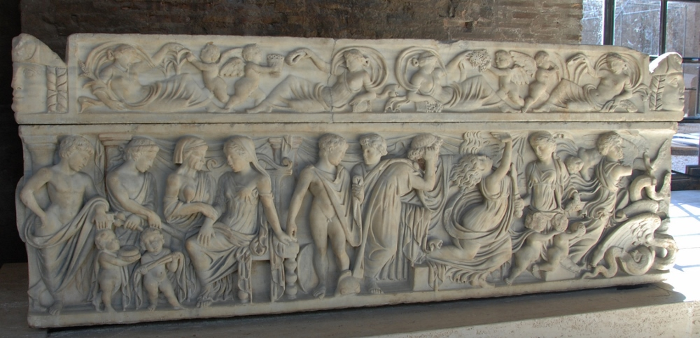 more storytelling on the front of a sarcophagus